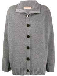Yves Salomon Dropped Shoulder Cardigan Grey