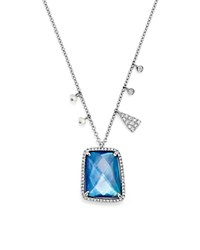 Meira T 14K White Gold Blue Sapphire And Moonstone Doublet Pendant Necklace With Diamonds 16 Blue White