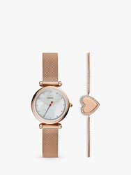 Fossil Es4867set 'S Heart Chain Bracelet And Mesh Bracelet Strap Watch Gift Set Rose Gold Mother Of Pearl