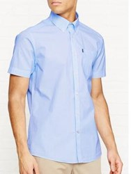 Barbour Triston Tailored Fit Short Sleeve Cotton Shirt Blue
