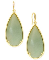 Abs By Allen Schwartz Gold Tone Large Green Stone Teardrop Earrings