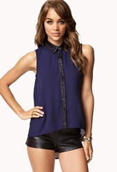 Forever 21 Faux Leather Trimmed Chiffon Shirt Navy Black