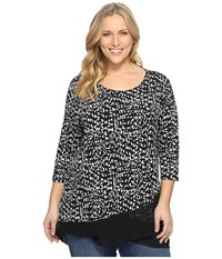 Vince Camuto Plus Size 3 4 Sleeve Asymmetrical Mosaic Glimpses Top Rich Black Women's Clothing