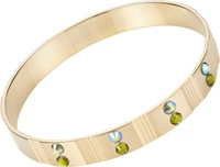 Chamak By Priya Kakkar Crystal Bead Accented Striated Bangle Gold