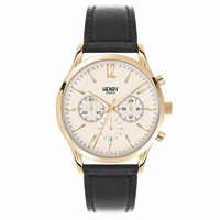 Henry London 41Mm Westminster Chronograph Leather Watch Gold Black Neutrals