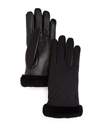 Ugg Quilted Leather And Sheepskin Tech Gloves Black