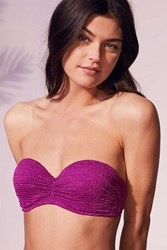 Out From Under Micro Ruched Bandeau Bikini Top Purple