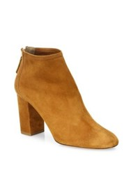 Aquazzura Downtown Suede Block Heel Booties Cognac