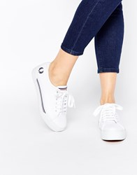 Fred Perry Phoenix Flatform Canvas Plimsoll Trainers White