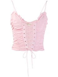 For Love And Lemons Lace Up Top Pink