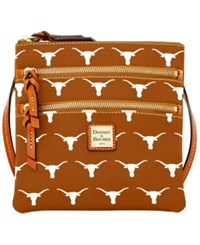Dooney And Bourke Texas Longhorns Ncaa Triple Zip Crossbody Bag Orange