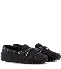Tod's Heaven Lacetto Suede Loafers Black