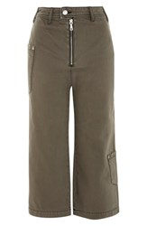 Topshop Straight Leg Crop Utility Jeans Olive