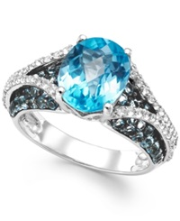 Macy's London Blue Topaz 5 3 4 Ct. T.W. And White Topaz 1 2 Ct. T.W. Ring In Sterling Silver