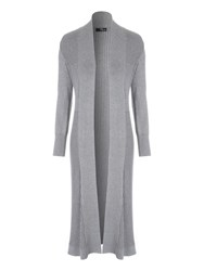 Jane Norman Rib Maxi Cardigan Grey Marl