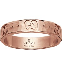 Gucci Icon Hammered 18Ct Rose Gold Ring