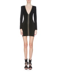 Balmain V Neck Hook And Eye Bandage Dress Black Women's