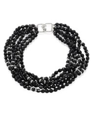 Kenneth Jay Lane 6 Row Jet Beaded Crystal Necklace Black