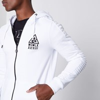 River Island White Biker Panel Sleeve Muscle Fit Hoodie