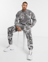 Mennace Tie Dye Jogger With Print In Grey Black