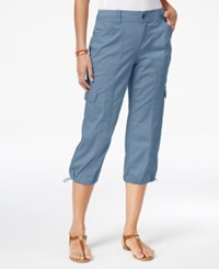 Style And Co Knit Waistband Cargo Capri Pants Only At Macy's Blue Fog
