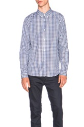 A.P.C. College Plaid Button Down Shirt In Blue Checkered And Plaid