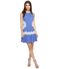 Adelyn Rae Woven Pintuck Decorated Mini Dress W Flared Hem And Ladder Floral Lace Trim Cornflower Blue Women's Dress