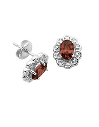 Lord And Taylor Garnet Cubic Zirconia And Sterling Silver Stud Earrings Red