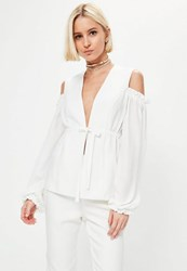 Missguided White Cold Shoulder Frill Detail Blazer