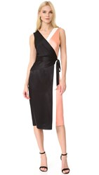 Diane Von Furstenberg Sleeveless Taped Wrap Dress Dustry Rose Black Ivory