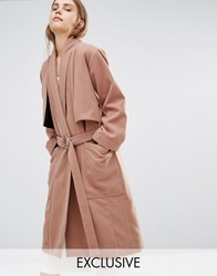 House Of Sunny Luxe Casual Trench Coat Camel Tan