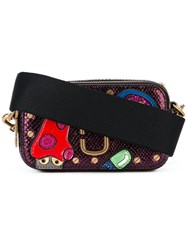 Marc Jacobs Embellished Patch Cross Body Bag Women Calf Leather One Size Pink Purple