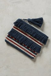 Anthropologie Fringed And Tasseled Pouch Black