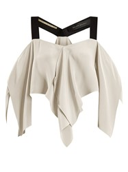 Roland Mouret Bach Off The Shoulder Draped Silk Crepe Top White