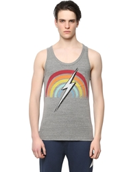 Lightning Bolt Rainbow Printed Cotton Blend Tank Top Grey