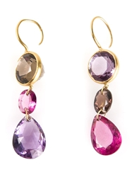 Marie Helene De Taillac 'Lady Life' Drop Earrings Pink And Purple