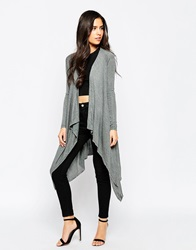 Michelle Keegan Loves Lipsy Maxi Waterfall Cardigan 021Grey