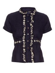 Jupe By Jackie Aragall Embroidered Wool Blouse Navy