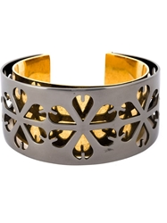Alexander Mcqueen Cut Out Floral Cuff Grey