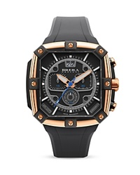 Brera Orologi Supersportivo Square 14K Rose Gold And Black Ionic Plated Stainless Steel Watch With Black Rubber Strap 46Mm