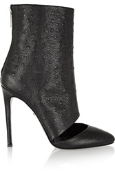 Just Cavalli Cutout Textured Leather Boots Black