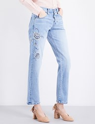 Current Elliott The Crossover Embroidered Straight Jeans Harrison W Embroidery