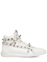 Valentino Garavani 20Mm Rockstud High Top Leather Sneakers White