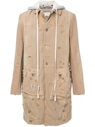 Greg Lauren Hooded Midi Coat Nude And Neutrals