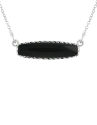 Lord And Taylor Healing Bar Pendants Black Agate And Sterling Silver Pendant Necklace