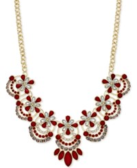 Inc International Concepts Gold Tone Red Stone Bib Necklace