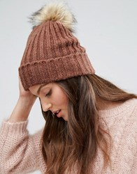 Pieces Knitted Pom Beanie In Copper Pink Copper Brown