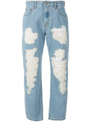 Vivienne Westwood Anglomania Cropped Distressed Jeans Women Cotton 27 Blue