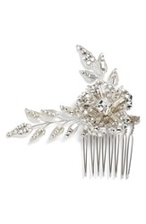 Halo And Co 'Lavina' Crystal Hair Comb Metallic Silver Clear