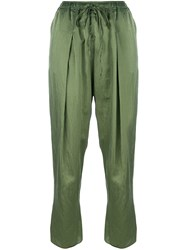 Andrea Ya'aqov Cropped Pleated Trousers Green